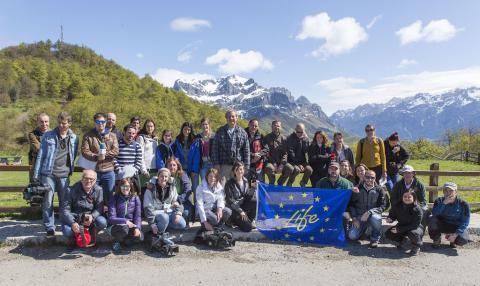Visita de los medios de comunicación y los socios del proyecto a las acciones desarrolladas en Picos de Europa